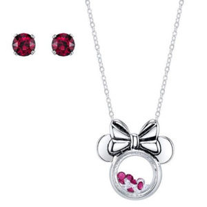 DISNEY MICKEY MOUSE CRYSTAL NECKLACE/EARRINGS SET